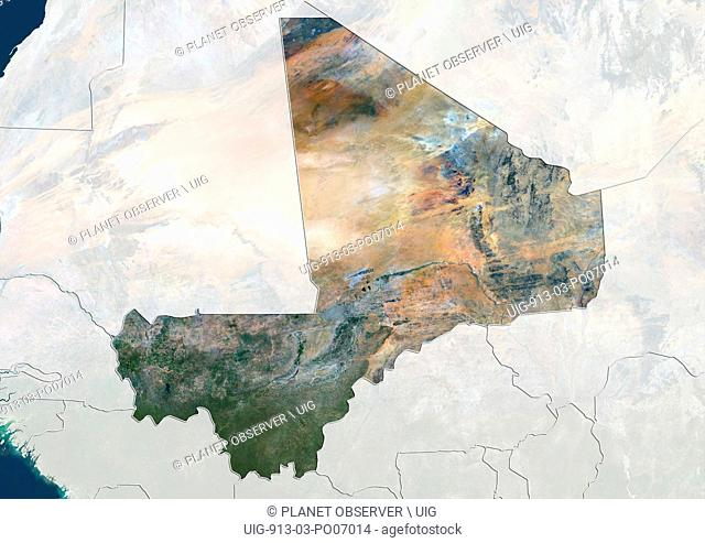 Satellite view of Mali (with country boundaries and mask). This image was compiled from data acquired by Landsat 8 satellite in 2014