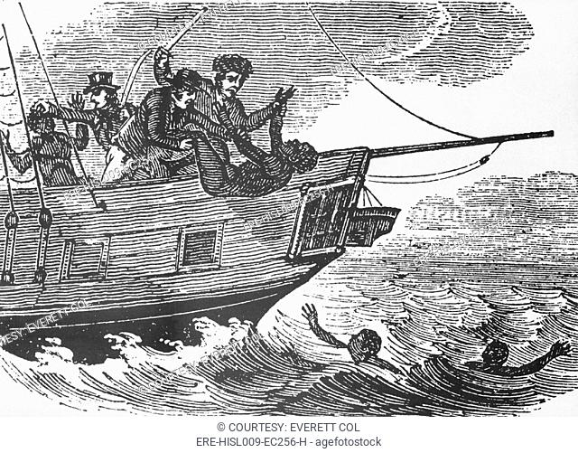 European sailors throwing African captives slaves overboard during Middle Passage to the Americas. Death took over 10 of the captives during the voyages
