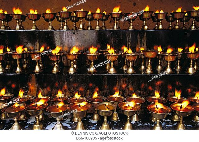 Yak butter candles in Jokhang temple, Lhasa. Tibet