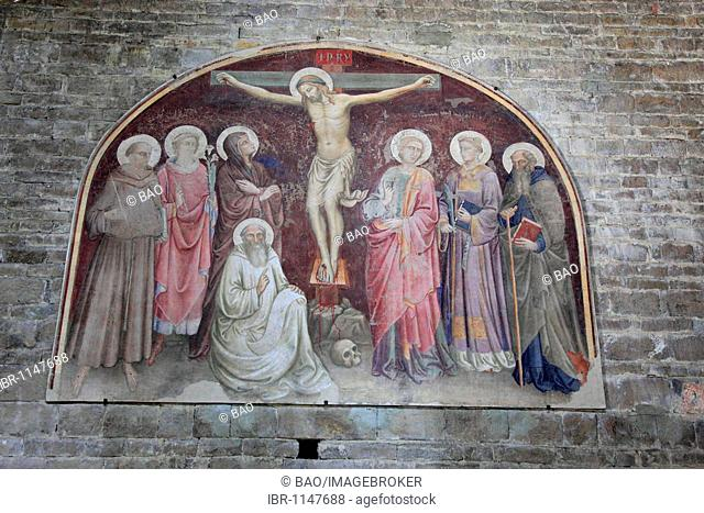 Frescoes in the oldest church founded in Florence, San Miato al Monte, Firenze, Florence, Tuscany, Italy, Europe
