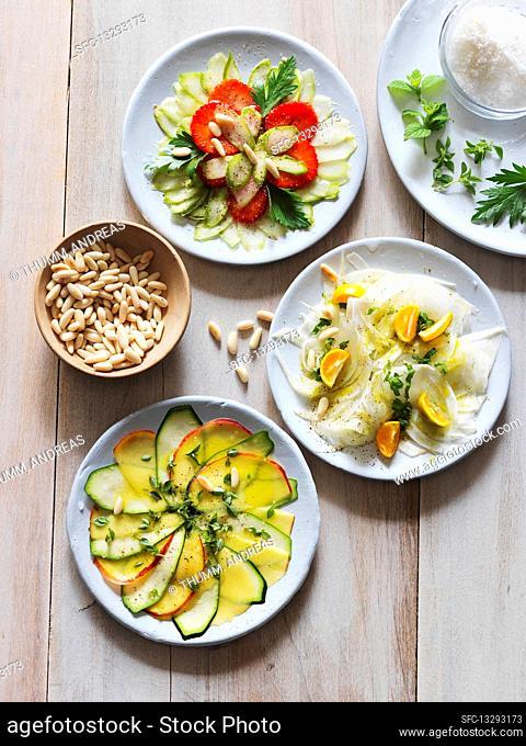 Three kinds of vegetable carpaccio