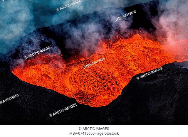 Aerial view of lava flow. August 29, 2014 a fissure eruption started in Holuhraun at the northern end of a magma intrusion, which had moved progressively north