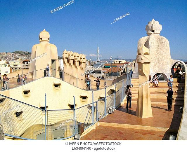 Detail of chimneys at roof terrace of Milà House aka La Pedrera 1906-1912 by Gaudí  Barcelona  Catalonia  Spain