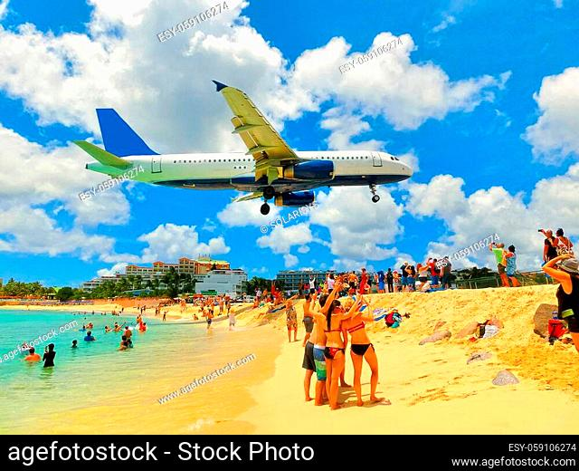 The beach at Maho Bay is one of the world's premier planespotting destinations