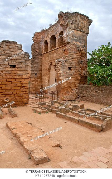 Architecture and remains of the Challah Casbah in Rabat, Morocco
