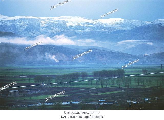 Korce plain surrounded by mountains, Albania