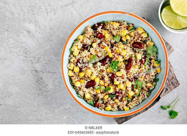 Quinoa salad with sweet corn, black beans and cilantro. Lime dressing