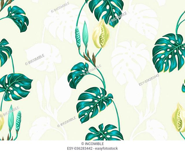 Seamless pattern with monstera leaves. Decorative image of tropical foliage and flower. Background made without clipping mask