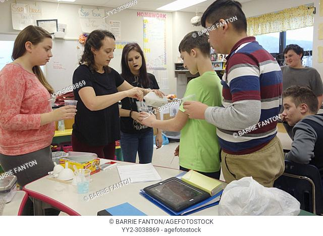 Students and Teacher Doing Experiment in 7th Grade Science Class, Wellsville, New York, USA
