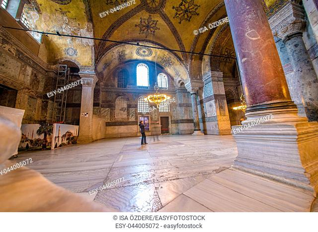 ISTANBUL, TURKEY- MARCH 11, 2017: Interior of Hagia Sophia, a Greek Orthodox Christian patriarchal basilica (church), built in 537 AD, later an imperial mosque