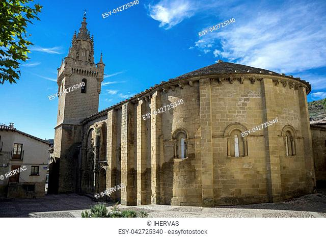Southern facade of the Church of Santa Maria, in Uncastillo, Zaragoza, Aragon, eastern Spain. It was built between 1135 and 1155 in Romanesque style