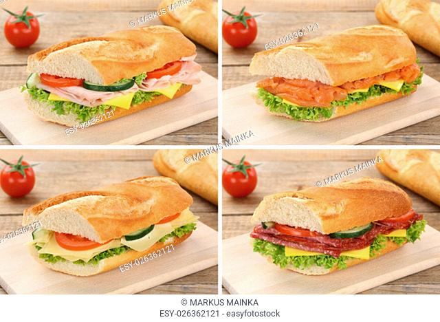 collage of baguettes for breakfast topped with salami ham,fish,cheese,lettuce and tomato