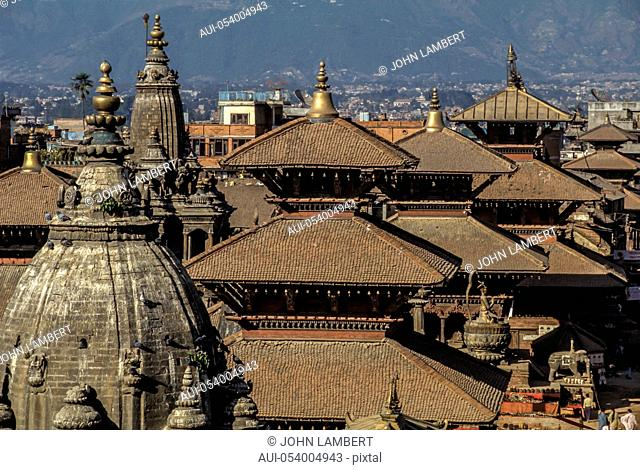 nepal, patan. durbar square and temple roofs