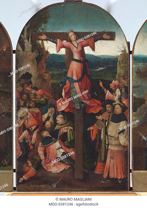 Triptych of the Crucified Martyr (Triptych of St Julia), by Joren Anthoniszoon Van Aeken known as Bosch Hieronymus, 1500 - 1504, 16th Century, oil on panel