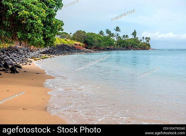 A view of the shoreline in the Kahana area of Maui, Hawaii