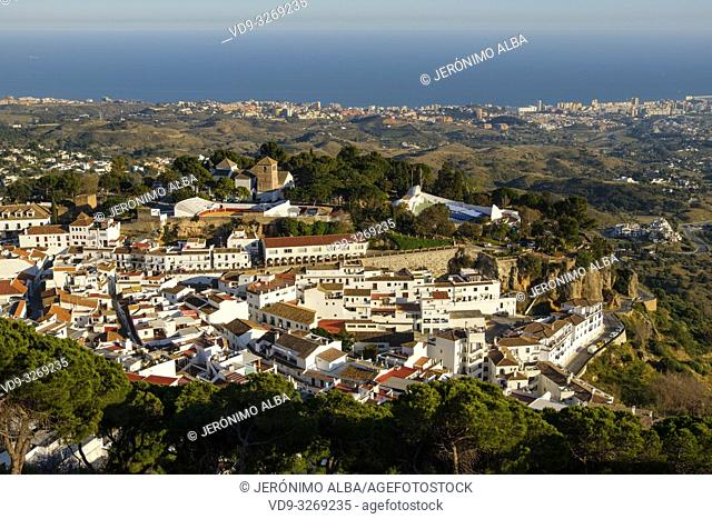 Panoramic view, white village of Mijas. Malaga province Costa del Sol. Andalusia, Southern Spain Europe