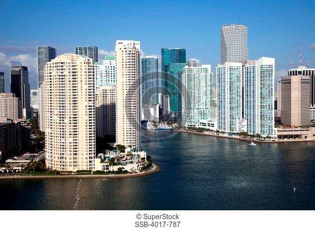Aerial of Miami Skyline from near Miami River and Brickell Key