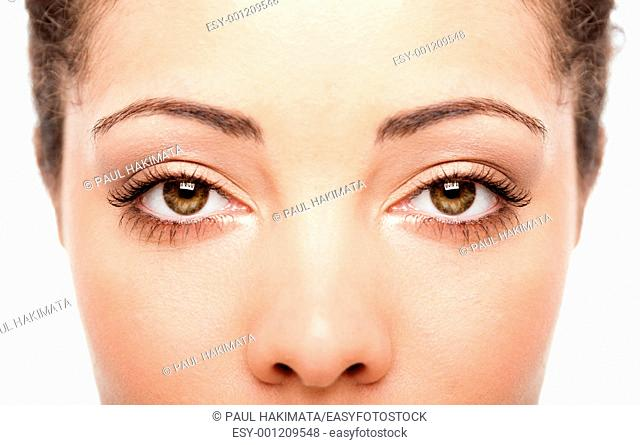 Beautiful female eyes as windows to the soul on face with fair skin, health concept, isolated