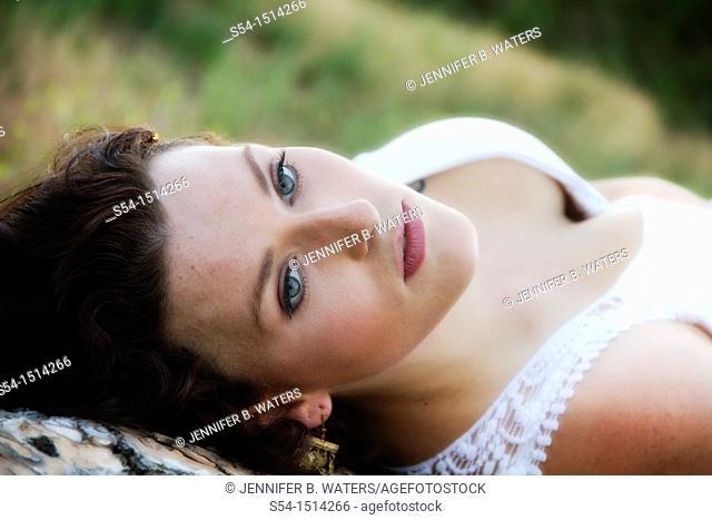 A young caucasian woman outdoors in Spokane, Washington, USA