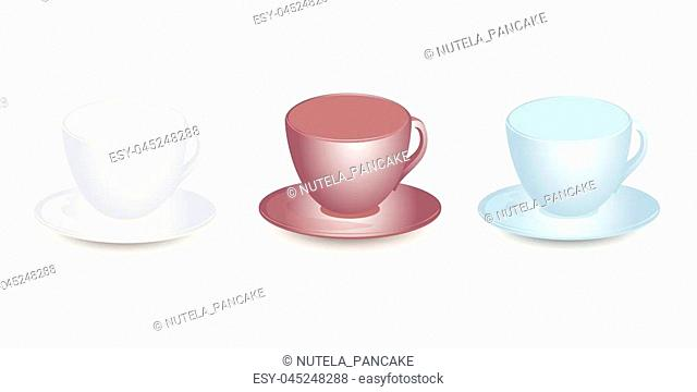 Three empty cups mockups with saucers vector design. Isolated on white background
