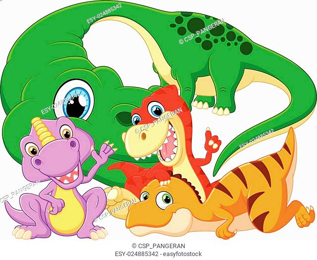 Collection set dinosaur with baby