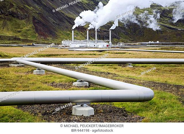The geothermal Nesjavellir power station delivers energy via long pipelines and power-cables as far as Reykjavik, Iceland, Europe