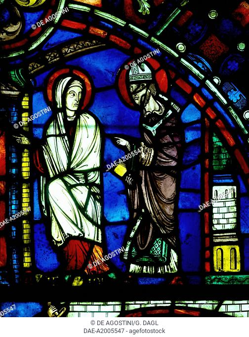 St Nicasius and St Eutropia travelling to Rheims, scene from History of St Nicasius and his sister St Eutropia, 1210-1220, stained-glass, Soissons Cathedral