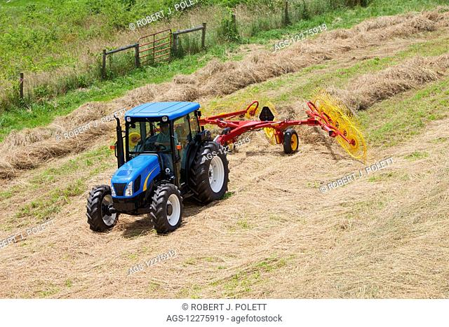 New Holland T5040 with H5980 wheel rake; New Holland, Pennsylvania, United States of America