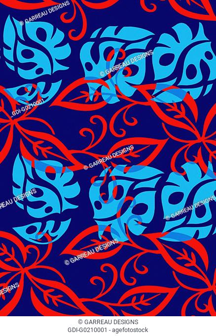 Blue and red tropical leaf design