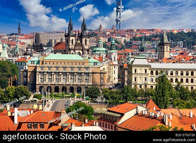 Faculty of Arts, Charles University, Mánes bridge, Tyn church, Prague, Czech Republic, Europe