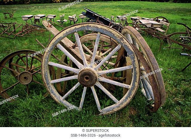 High angle view of wagon wheels in a junkyard, Ireland