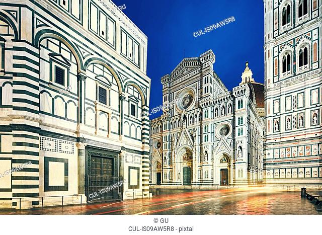 View of Florence Cathedral, Baptistery of St John and Giotto's Campanile at night, Florence, Italy
