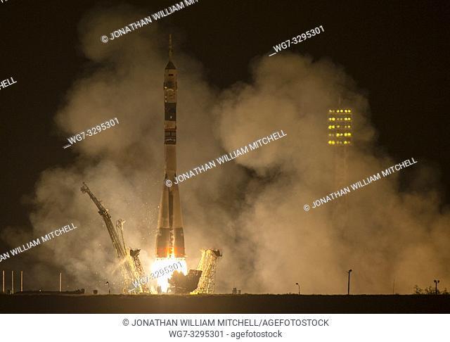 KAZAKHSTAN Baikonur Cosmodrome -- 26 Sep 2014 -- The Soyuz TMA-14M rocket is launched with Expedition 41 Soyuz Commander Alexander Samokutyaev of the Russian...