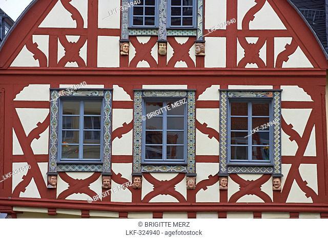 Market place at Kirchberg, Half-timbered house, build in 1752 Schwanen-Apotheke, Detail, Hunsrueck, Rhineland-Palatinate, Germany, Europe