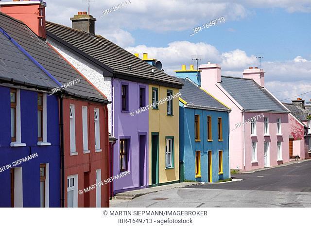Colourful houses, Eyeries, Beara Peninsula, County Cork, Ireland, British Isles, Europe