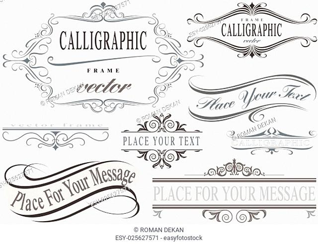 Calligraphic Frame Set - Typographic Design Elements Illustration, Vector