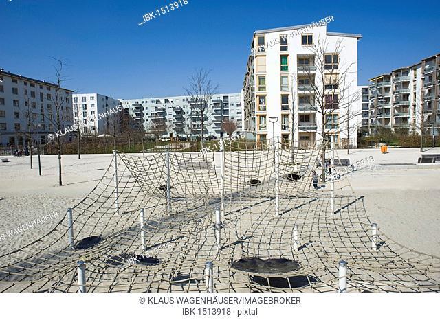 Modern housing with a playground, Arnulfpark, Munich, Bavaria, Germany, Europe
