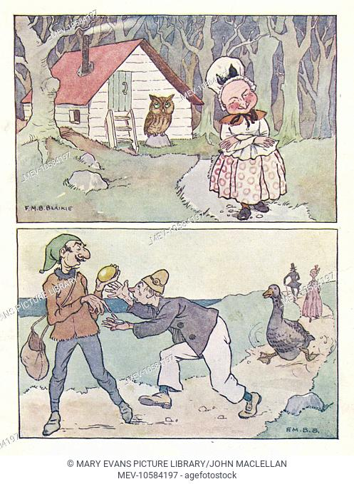 Nursery Rhymes -- two scenes from the Goose that laid the Golden Egg, showing Mother Goose and her owl outside her cottage (above)
