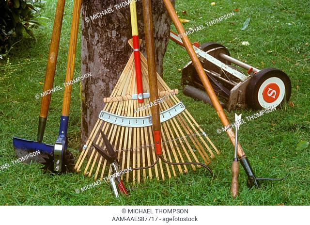Lawn Hand Tools: Edgers, Hand Clippers, Rake, Weeder, Push Mower