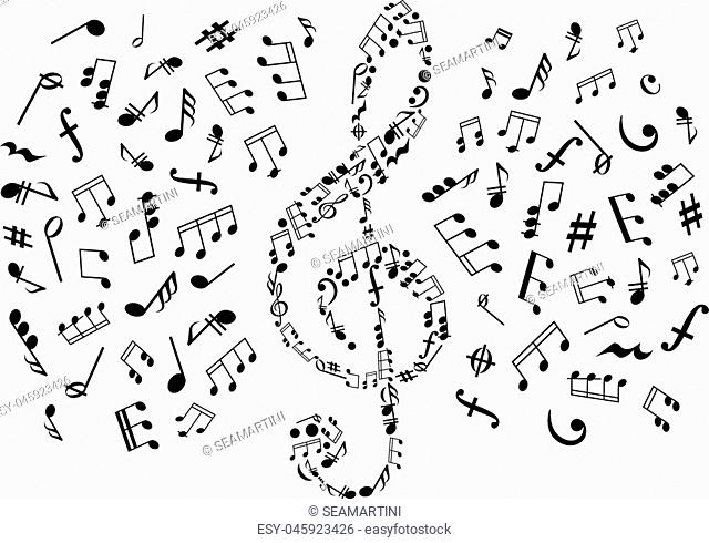 Treble clef icon composed of musical symbols and marks, surrounded by notes and key signatures, rests and chords, bass clefs and dymamics signs