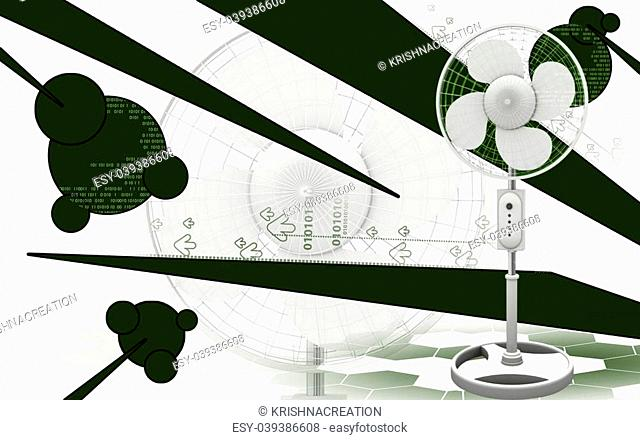 Digital illustration of a pedestal fan in colour background