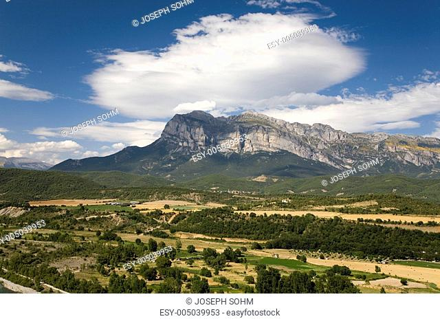 Sweeping hilltop views of Cinca and Ara Rivers from Ainsa, Huesca, Spain in Pyrenees Mountains, an old walled town near Parque National de Ordesa