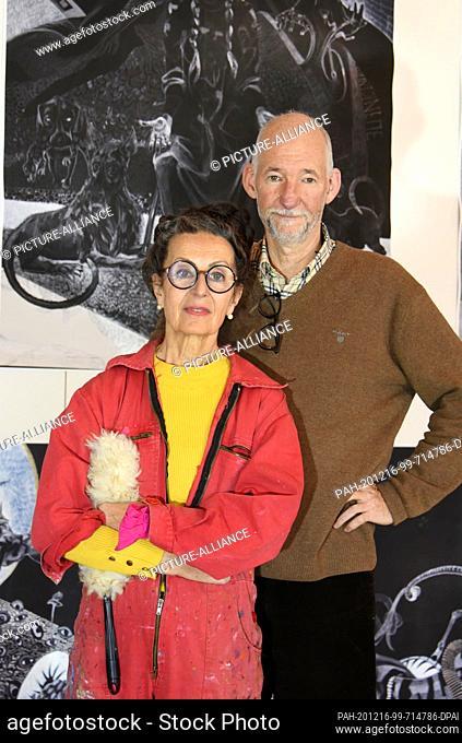03 December 2020, Saxony-Anhalt, Merseburg: The Leipzig artist ANTOINETTE stands in the Schlossgarten Salon in Merseburg in a specially set up open studio with...