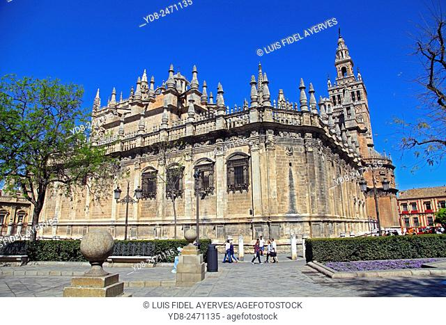 View of the Cathedral and the Giralda in Seville, Spain