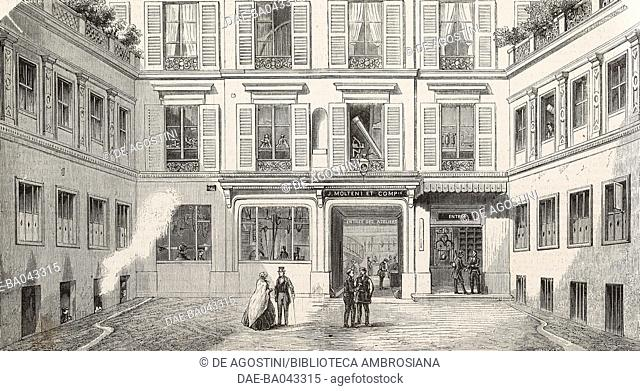 Entrance to the Molteni precision instrument factory, on Rue du Chateau, Paris, France, illustration from L'Illustration, Journal Universel, No 614, Volume XXIV
