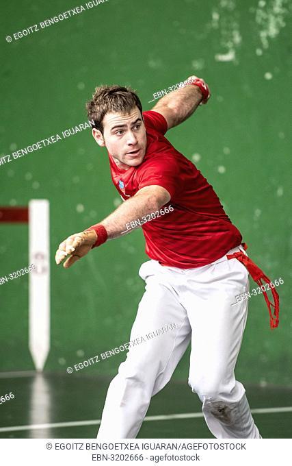 Daniel Murgiondo at the semi-finals of Antton Pebet basque pelota bare hand tournament. Villabona, Basque Country, Spain
