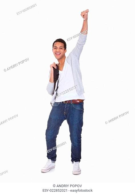 Excited Student Man