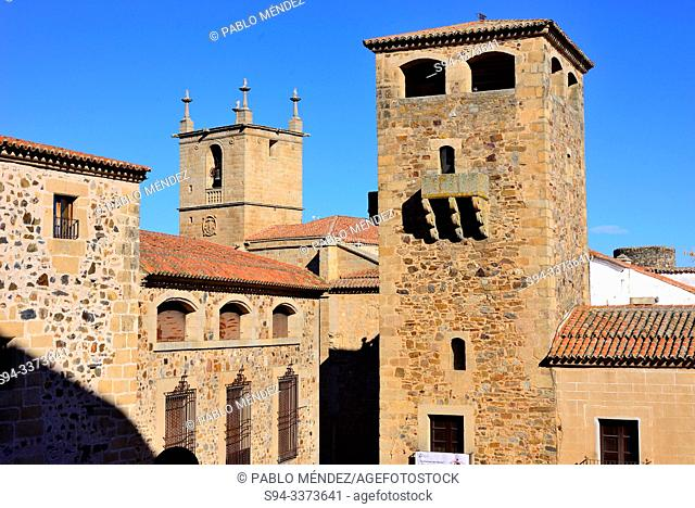 Tower of the Palace of Golfines de Abajo and church of Santa Maria, Caceres, Spain