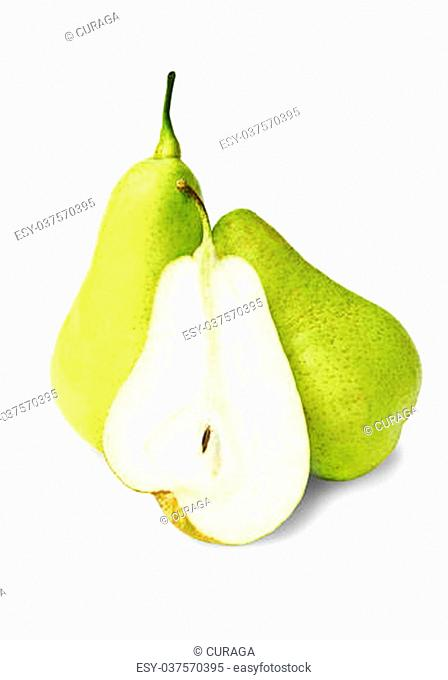 Three pears on white background