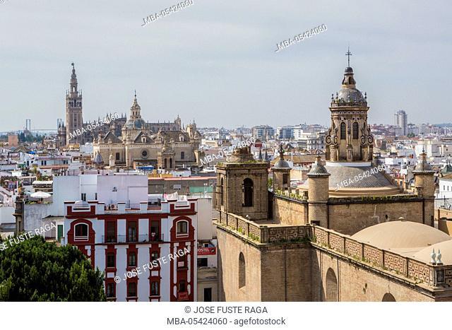 Spain, Andalucia Region, Sevilla City, Anunciacion Church and Giralda Tower